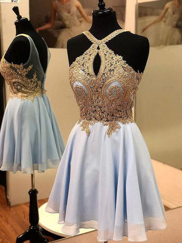 Light Sky Blue Gold Applique Homecoming Dress Short Prom Dresses WHK064