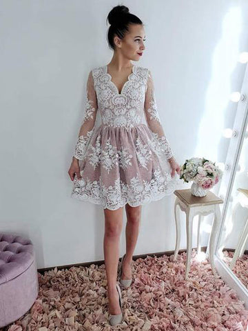 V neck Long Sleeve Lace Homecoming Dress Short Prom Dresses WHK065
