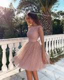Gorgeous Pink Sparkly Short Prom Dress Homecoming Dress WHK069