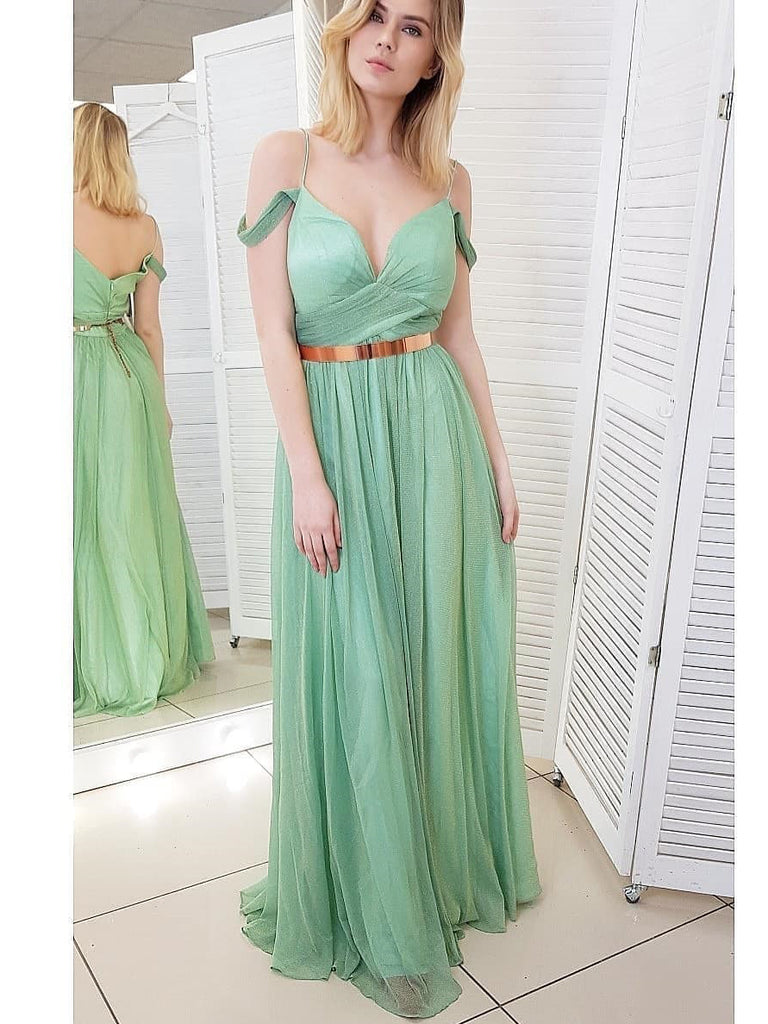 Chic A-line Spaghetti Strap Long Prom Dresses Mint Green Evening Dresses WHK071