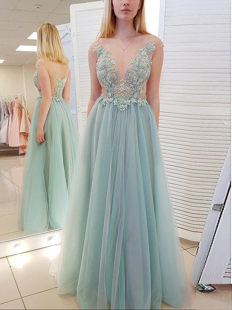Chic A-line Scoop See Through Long Prom Dresses Evening Dresses WHK072