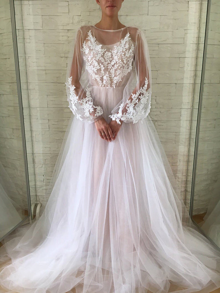A-line Scoop Long Sleeve Wedding Dress Gorgeous Long Formal Dresses WHK079