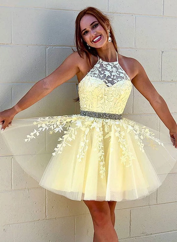 Cute Lace Tulle Short Prom Dress Homecoming Dress WHK094