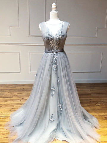 Dusty Blue Bateau Long Prom Dresses Embroidery Evening Dress Formal Gowns WHK122