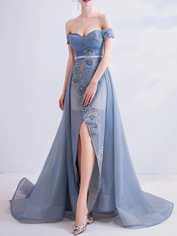 A-line Off-the-shoulder Beautiful Long Prom Dresses Formal Gowns WHK124