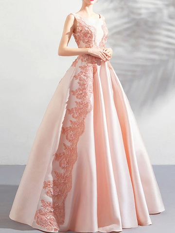 A-line Scoop Pink Long Prom Dresses Lace Formal Gowns WHK128
