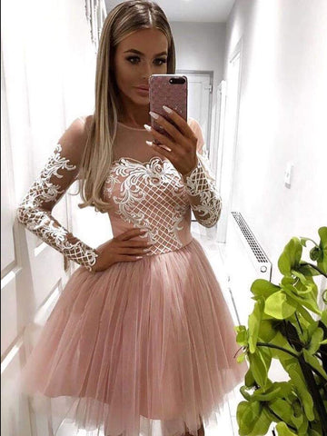 A-line Scoop Pink Lace Short Prom Dress Long Sleeve Homecoming Dress WHK098