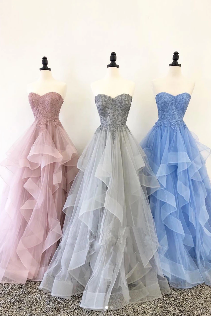 A-line Sweetheart Applique Long Prom Dresses Formal Gowns WHK132