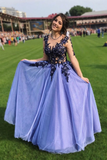 A-line Scoop Beautiful Long Prom Dresses Applique Formal Gowns WHK133