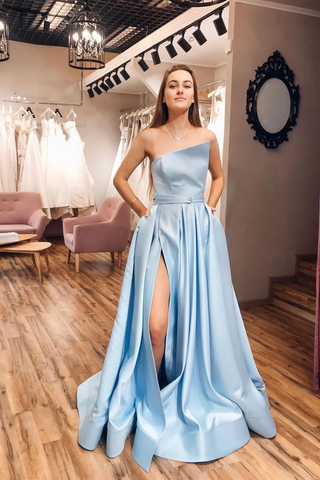 A-line Strapless Blue Long Prom Dresses Satin Evening Gowns WHK134