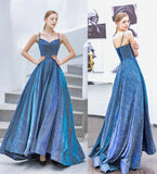 A-line Spaghetti Straps Blue Sparkly Long Prom Dresses Evening Gowns WHK136