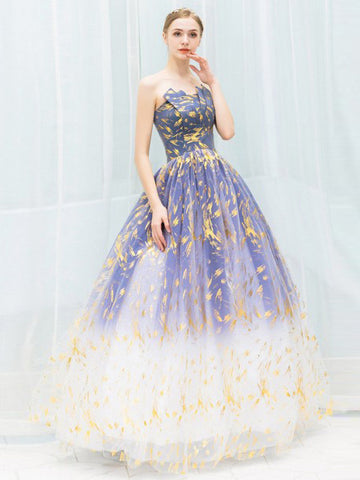 A-line Strapless Sparkly Long Prom Dresses Evening Gowns WHK142