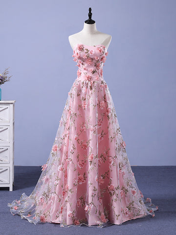 A-line Pink Sweetheart 3D Floral Long Prom Dresses Evening Gowns WHK145
