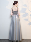 A-line V neck Tulle Long Prom Dresses Unique Evening Gowns WHK146