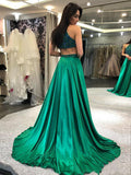 A-line Scoop Beaded Hunter Long Prom Dresses Evening Gowns WHK149