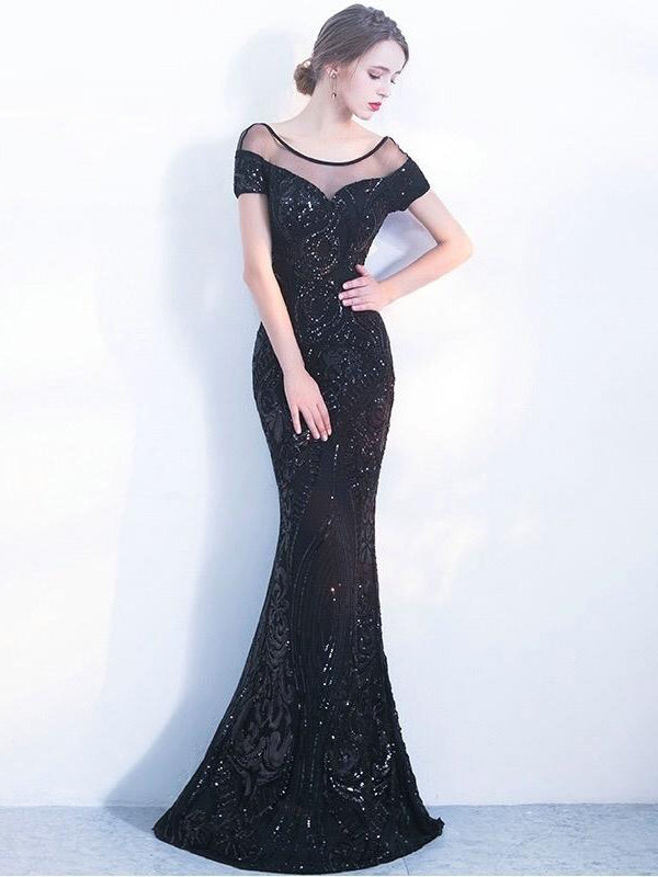 Mermaid Scoop Short Sleeve Long Prom Dresses Beaded Evening Gowns WHK150