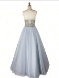 A-line Strapless Beaded Long Prom Dresses Unique Formal Gowns WHK152