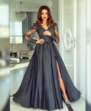 A-line V neck Long Sleeve Prom Dresses Lace Formal Gowns WHK153