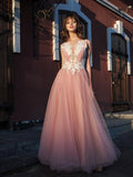 A-line Bateau Pink Prom Dresses Applique Formal Gowns WHK155