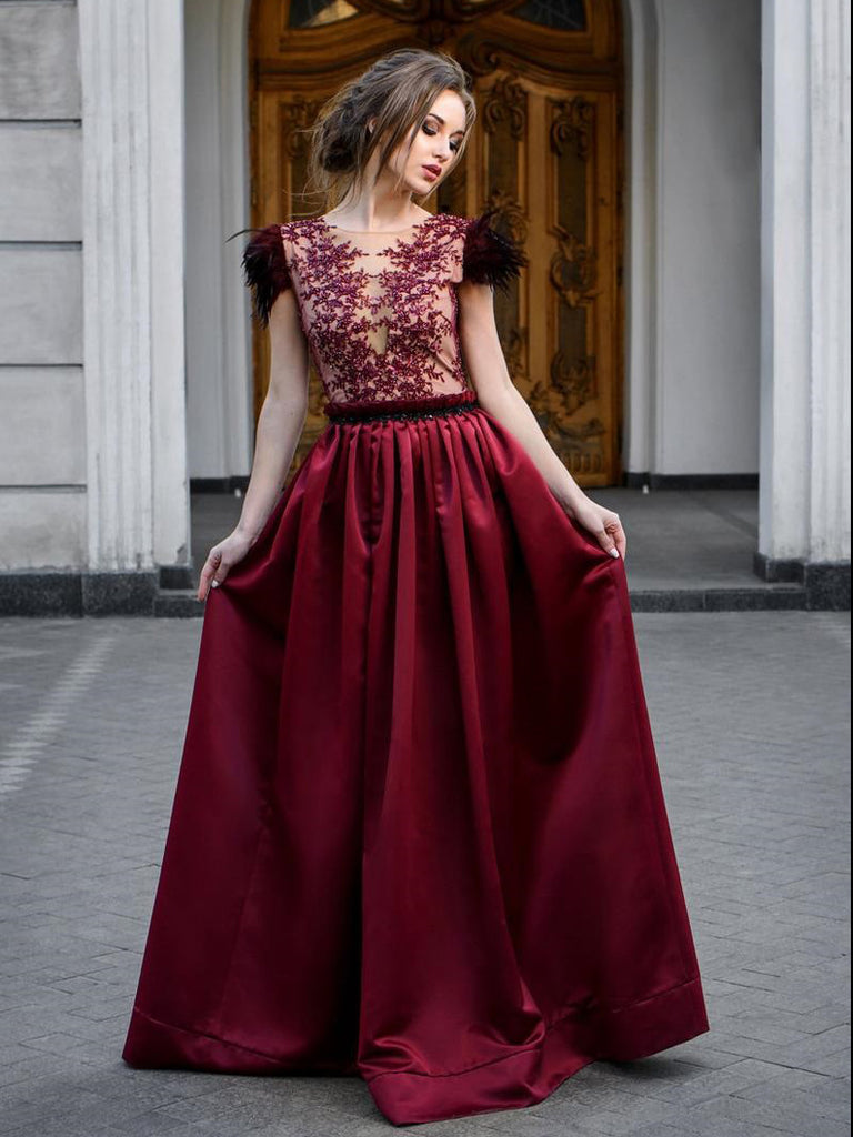 A-line Scoop Burgundy Lace Prom Dresses Formal Gowns WHK156