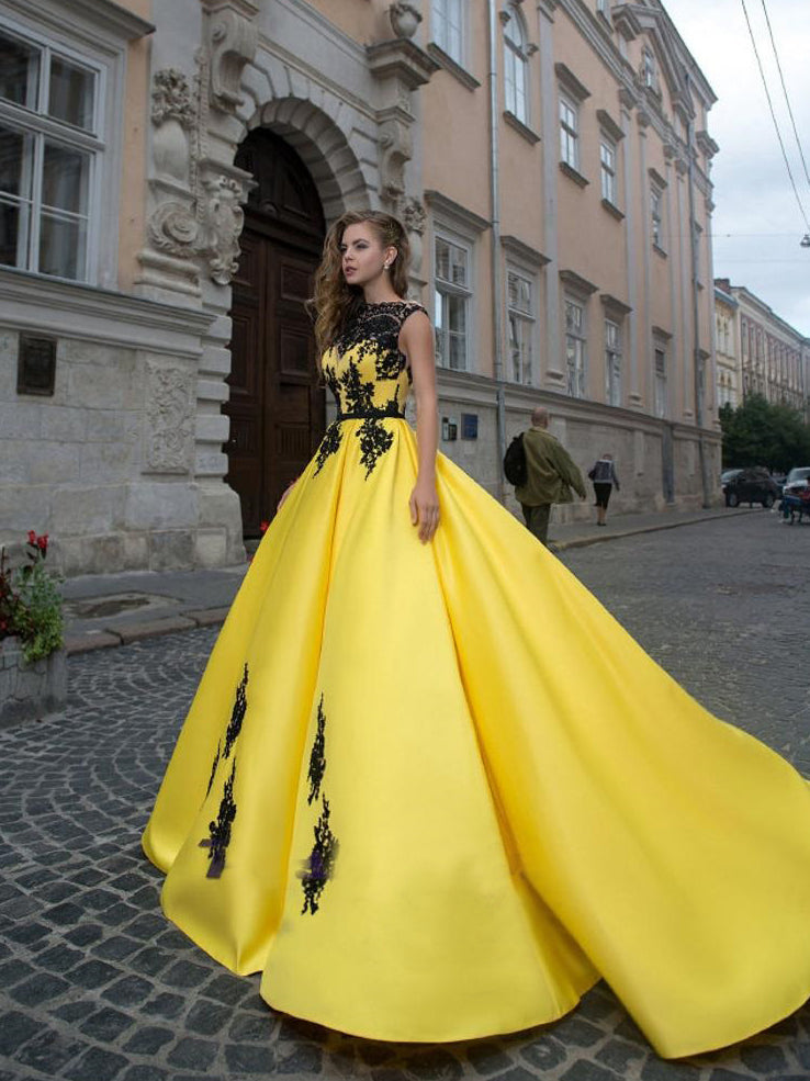A-line Bateau Yellow Lace Prom Dresses Quinceanera Formal Gowns WHK159