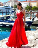 A-line Spaghetti Straps Lace Prom Dresses Formal Gowns WHK160