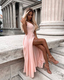 A-line V neck Lace Prom Dresses Watermelon Formal Gowns WHK161