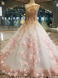 Scoop Neck Ball Gown Prom Dress Vintage Beading Quinceanera Dresses WHK174