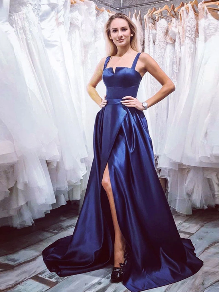 A-line Navy Blue Satin Slit Long Prom Dresses Party Dresses WHK178