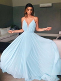 A-line Spaghetti Straps Light Sky Blue Long Prom Dresses WHK181