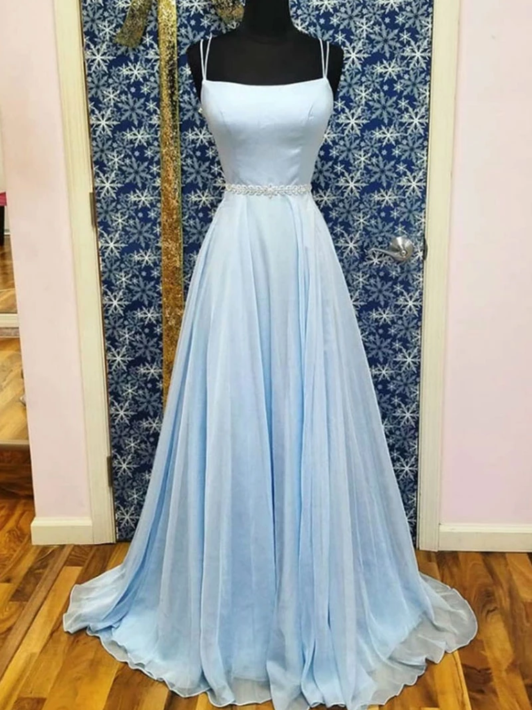 A-line Spaghetti Straps Light Sky Blue Long Prom Dresses Evening Gowns WHK184