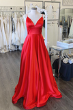 A-line Spaghetti Straps Red Long Prom Dresses Evening Dresses WHK188