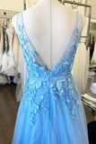A-line V neck Blue Long Prom Dresses Applique Evening Dresses WHK189