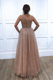 A-line One Shoulder Sparkly Long Prom Dresses Evening Dresses WHK191