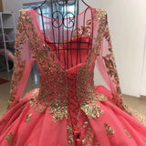 Pink Long Sleeve Ball Gown Prom Dress Gold Sequins Quinceanera Dresses WHK195