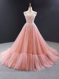 A-line Pink Luxurious Long Prom Dress Sweep Train Quinceanera Dresses WHK196