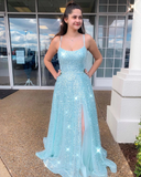 Spaghetti Straps Mint Prom Dress Tulle Sparkly Formal Dress with Slit WHK199