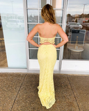 Two Piece Spaghetti Straps Exquisite Lace Yellow Mermaid Prom Dress WHK200