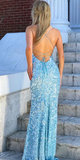 Mermaid Prom Dresses Open Back Sequins Lace Blue Long Prom Dress WHK202