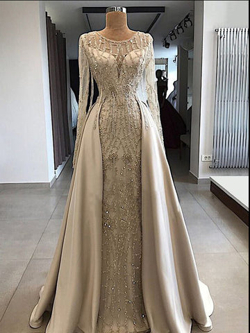 A-line Scoop Floor Length Long Sleeve Prom Dresses Evening Dresses AMY594