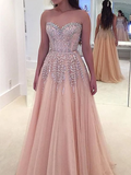 Beautiful A Line Prom Dresses Blushing Pink Rhinestone Short and Long Luxury Prom Dress WHK204