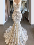 Trumpet/Mermaid V neck Lace Long Prom Dresses Evening Dresses WHK206