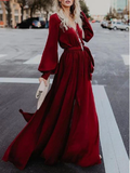 A-line Burgundy Long Prom Dresses Long Sleeve Simple Cheap Prom Dress WHK205