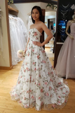 A Line 3D Flowers Long Prom Dresses Strapless Beautiful Floral Lace Prom Dress WHK206