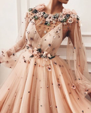 A line Long Sleeve Prom Dresses Floral Prom Dress Luxury Evening Dress WHK204