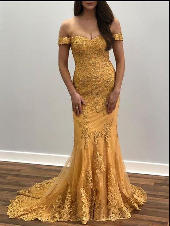 Trumpet/Mermaid Off-the-shoulder Lace Long Prom Dresses Evening Dresses WHK209