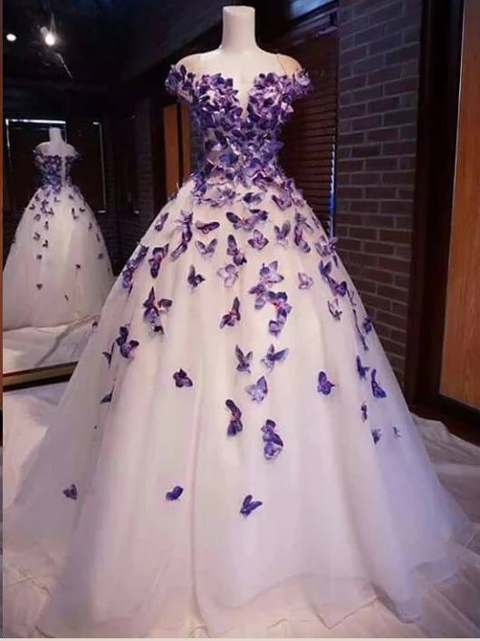 A Line Square Prom Dresses Butterfly Beautiful Long Prom Dress Evening Dresses WHK205