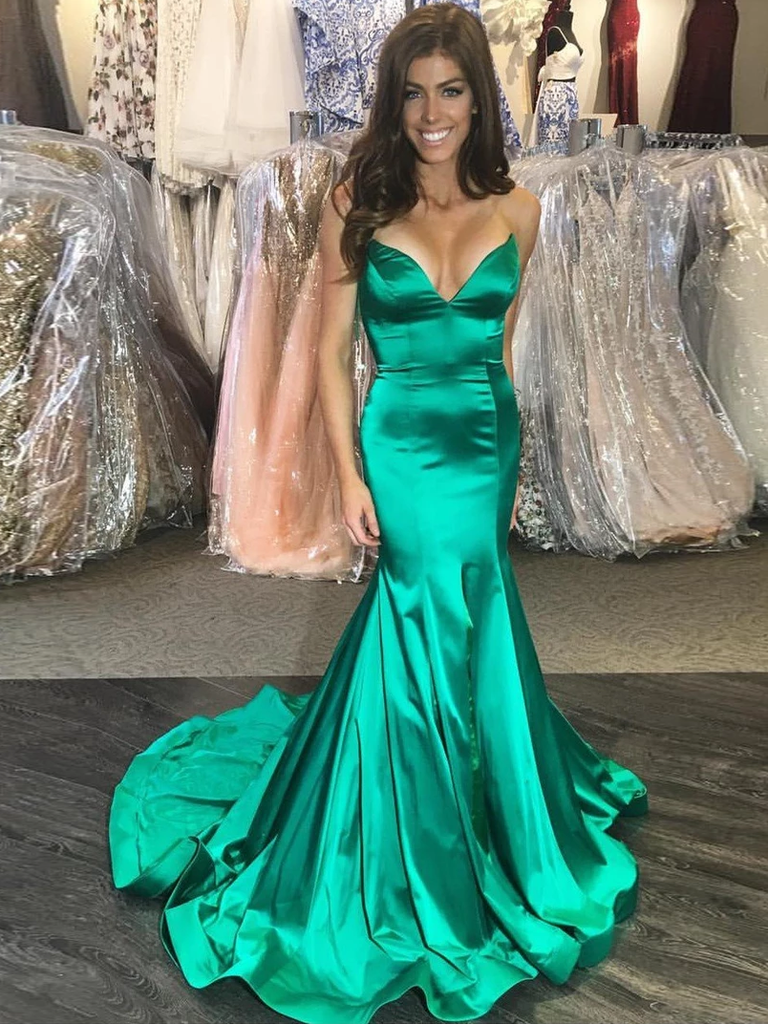 Trumpet/Mermaid Spaghetti Straps Hunter Long Prom Dresses Evening Gowns WHK214