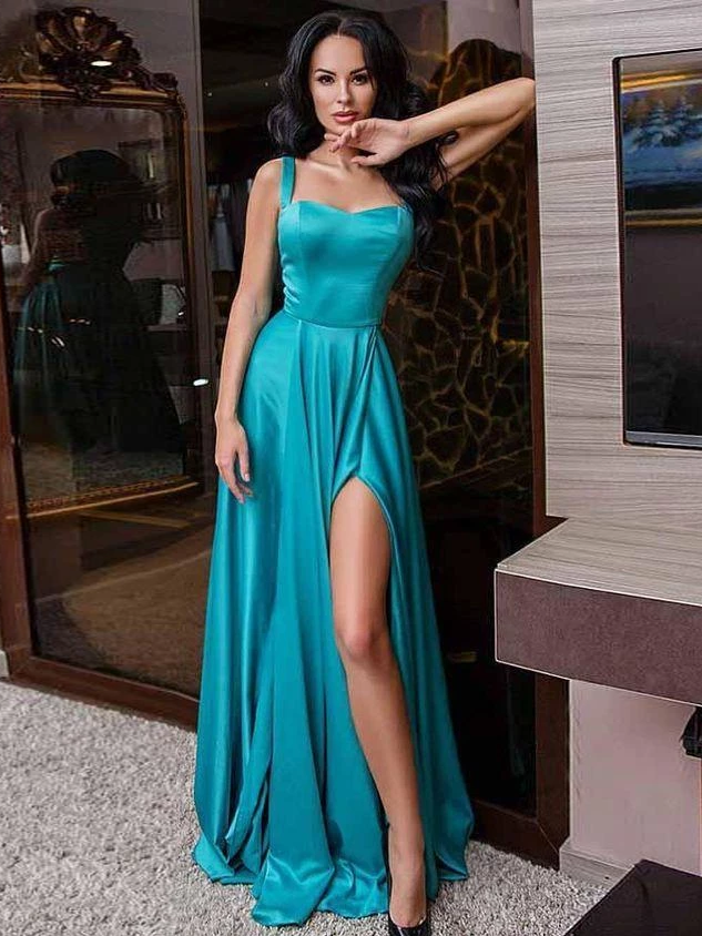 A-line Straps Cheap Simple Long Prom Dresses With Silt Evening Gowns WHK215