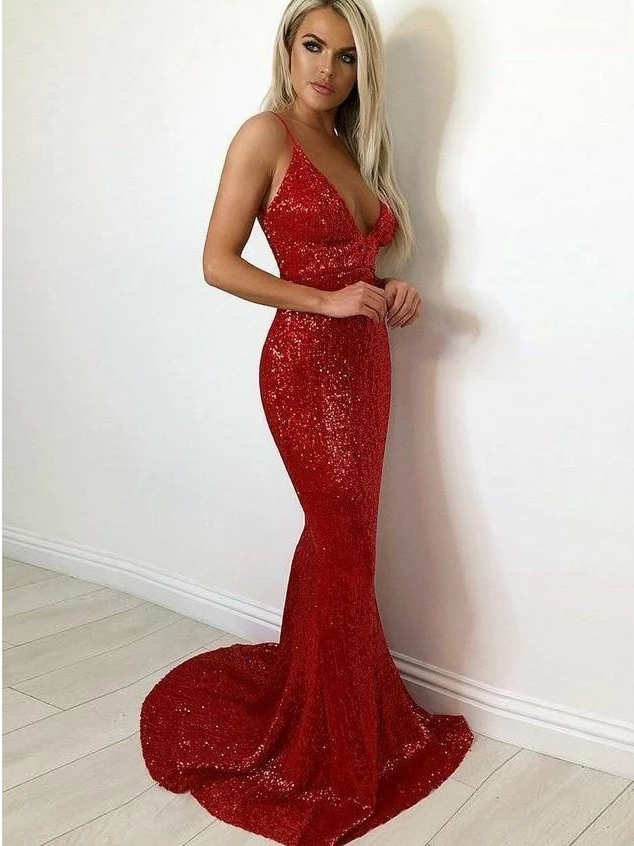 Spaghetti Straps Burgundy Sexy Long Prom Dresses Mermaid Sparkly Evening Gowns WHK218